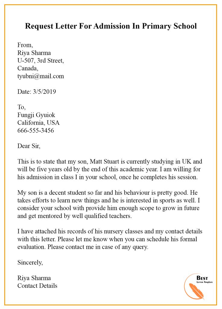 Sample Request Letter Template for Admission in School