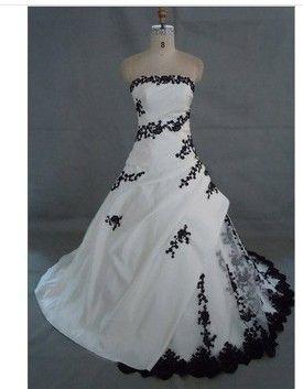 livraison gratuite noir et blanc robe de mariée broderie