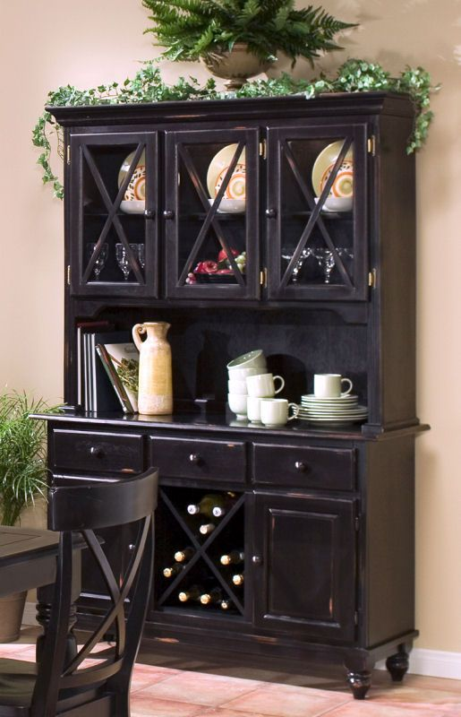 Buffet And Hutch With Wine Rack In Warm Oak Finish
