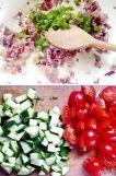 === Ingredience === quinoa (uvařená podle návodu) bylinky (bazalka, petržel, libeček) citronova kůra červena cibule jarní cibulka rajčátka malá cuketka olivový olej na orestování cibule sůl, pepř vinny bílý ocet pár kapek, podle chuti === Příprava === Quinou si uvařte podle návodu na obalu. Na pánvi na olivovém oleji si orestujte červenou cibulku do sklovata, potom přidejte zelenou cibulku, sůl a pepř. Vše promíchejte a přisypte quinou, pokrájená rajčátka, cuketu a bylinky ocet a hotovo :)…