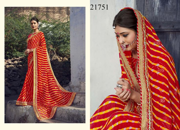 Your spell of allure will be noticed as you slip into this traditional beautiful red georgette saree which is artistically done with famous Bandhani print #womensfashion #sarees