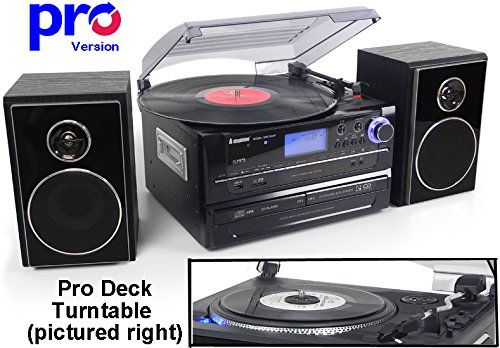 Cheap Steepletone SMC1033 PRO (new PRO Deck Turntable) 6-in-1 Music System Home Audio System - Turntable Record Player to CD CD to CD ~ AND ~ MP3 Recording - Radio - AUX IN    OUT (Black (Silver Detailing)) Best Selling