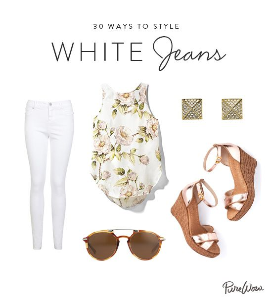 How to Style White Jeans via @PureWow, this link has 30 days of white jeans and how to accessorize and what to wear with them.  This is cool.  Hope you enjoy it.