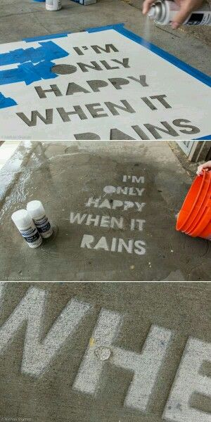 Rustoleum waterproof spray paint.  Spray it on the sidewalk or driveway and have a secret message that only shows up when it rains