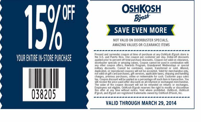 picture about Oshkosh Printable Coupon titled Osh kosh bgosh discount codes printable / My coupon genie inc