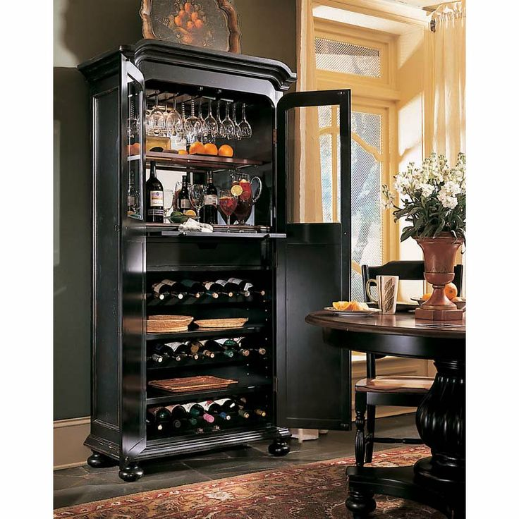indigo creek wine cabinet black finish with rubthrough bar tables other metro hooker furniture