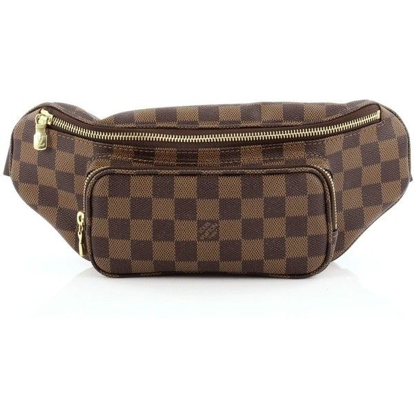 Louis Vuitton Melville Waist Bag Damier ($490) ❤ liked on Polyvore featuring waist fanny pack, brown bag, hip fanny pack, louis vuitton and belt bag