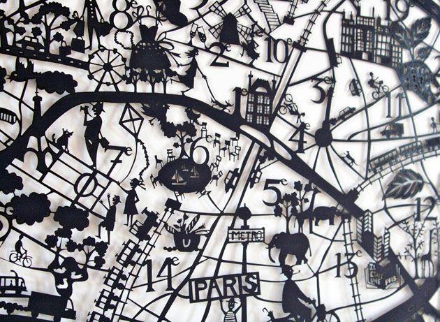 Paper cut map of Paris by Famille Summerbelle