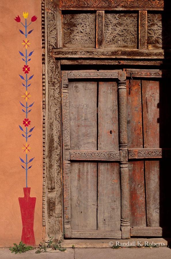 Painted door santa fe new mexico adobe ideas pinterest