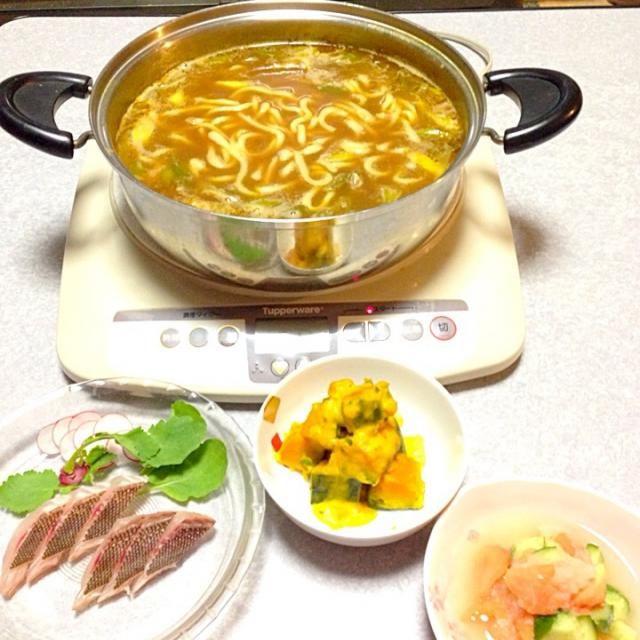 カレーうどん鍋、 かぼちゃのミルク煮、 トマトのみぞれ和え、 イサキの炙り です。 - 13件のもぐもぐ - カレーうどん鍋 by orieueki