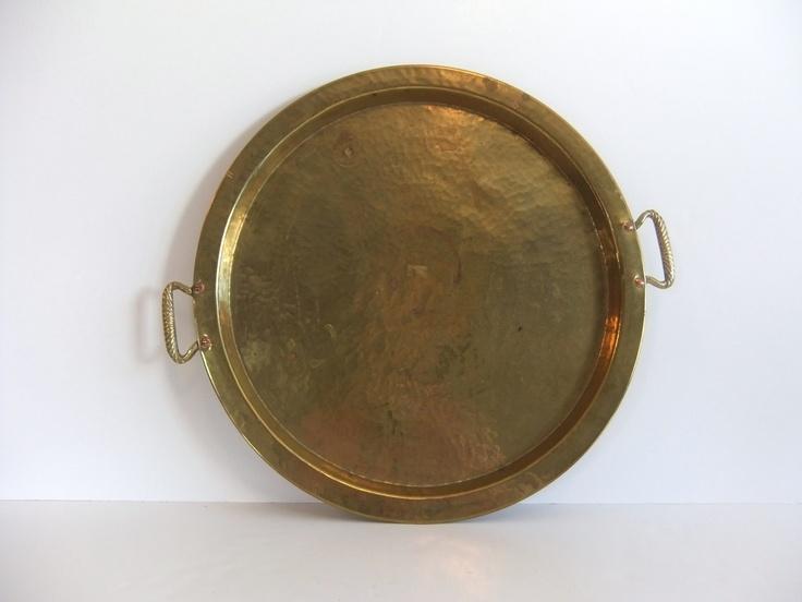 Round Brass Serving Tray. $15.00, via Etsy.