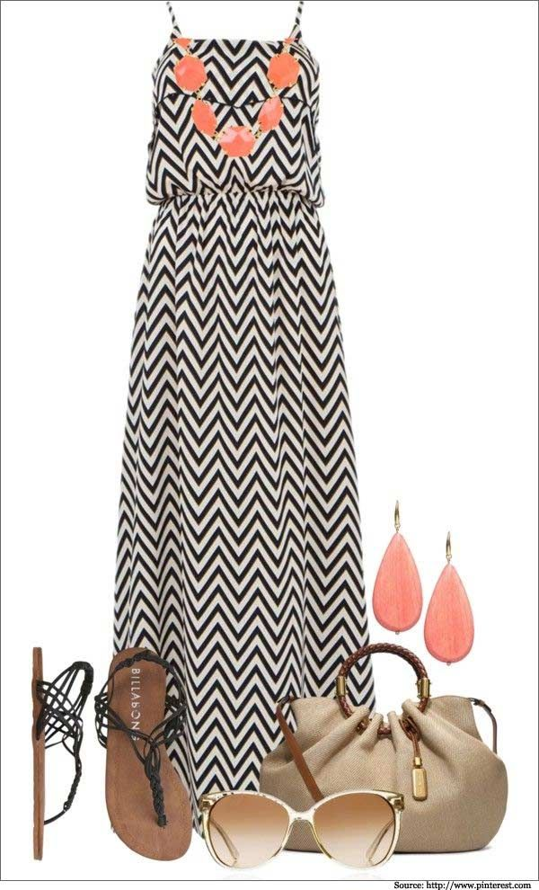 black and white maxi dresses    Want more stripes? try this black and white number with coral and ...