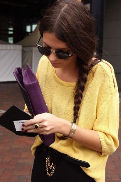 Yellow jumper and a tan