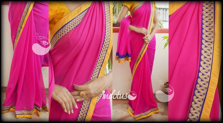 Pink Georgette paired with purple border with golden motifs and yellow pati. Blouse - Yellow semi raw silk