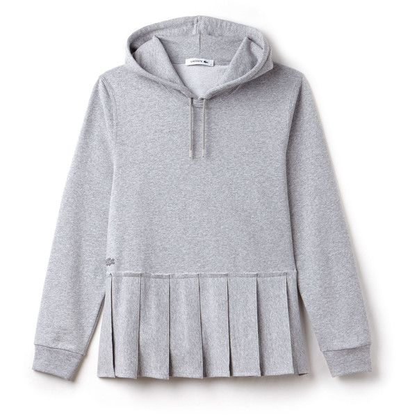Grey Women's Hooded Pleated Fleece Sweatshirt ($175) ❤ liked on Polyvore featuring tops, hoodies, sweatshirts, fleece hoodies, lacoste hoodies, fleece tops, pleated top and embroidered top