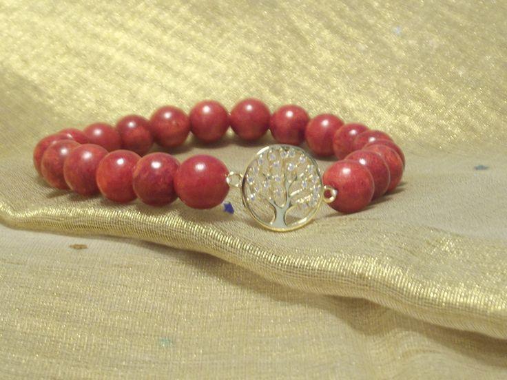 """Wunderschönes Armband Natur Koralle-Perlen, """"Baum des Lebens""""  925 Silber Vergoldet Zwischenteil mit Zirkonia Symbolarmband Lifetree von silberstrich auf Etsy"""