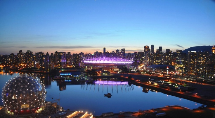 BC Place and Science World lit up