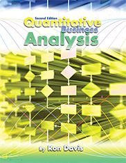 """Quantitative Business Analysis (Second Edition) By Ron Davis Paperback ISBN: 978-1-63189-707-8, 190 pages ©2015  """"Quantitative Business Analysis"""" is designed for a one semester introductory course in management science that is an undergraduate core requirement in the business curriculum. The principal topics covered are network models, linear programming, decision analysis, and PERT Monte Carlo simulation. It could also be used in an MBA curriculum."""