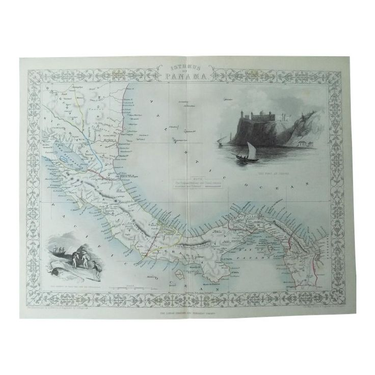 1800/'S MAP ISTHMUS OF PANAMA COSTA RICA FORT VINTAGE POSTER REPRO