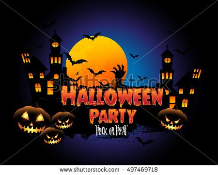 Happy Halloween Poster, night background with creepy castle and pumpkins, illustration. vector elements for banner, greeting card halloween celebration