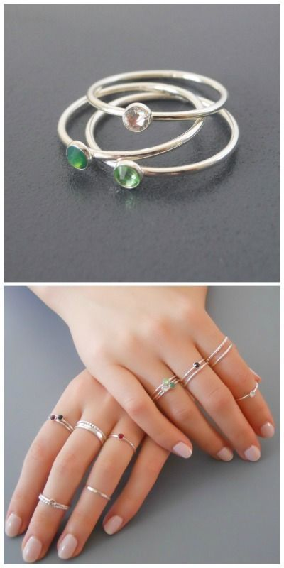 3 skinny silver birthstone rings with your choice of color.