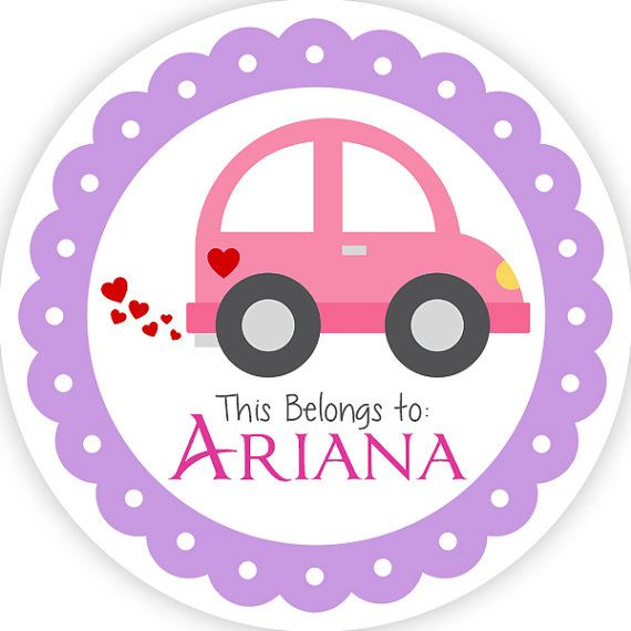 Personalized name label stickers purple and pink cute little car name tag stickers 2