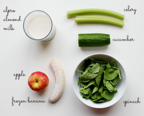 Green Smoothie Frozen Banana Apple Peeled Cored Two Sticks Of Celery Large Handful Of Spinach Alpro Almond Milk Large Chunk Of Cuber