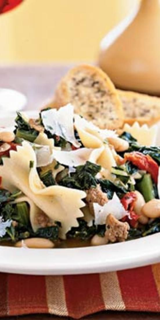 Farfalle with Sausage, Cannelli Beans and Kale - From soup to chips, fresh new ways to feature this nutrient-packed green.