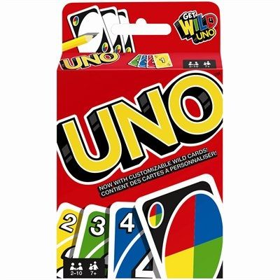 Get into the fast fun for everyone with UNO. See why this color coded card game is such a popular brand of family Game. Be the first player or team to score 500 points. Points are scored by being the first to rid yourself of all the cards in your hand before the other players.