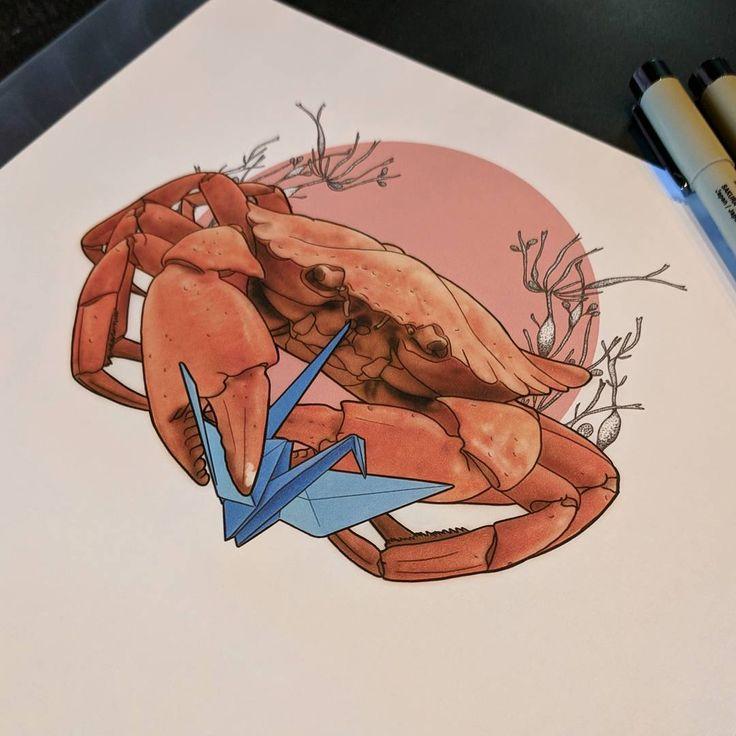 Fun fact crabs enjoy origami . . . #tattoo #tattoodesign #tattooflash #crab #papercrane #art #artist #tattooartist #neotraditional #seaweed #origami #vancouvertattoo