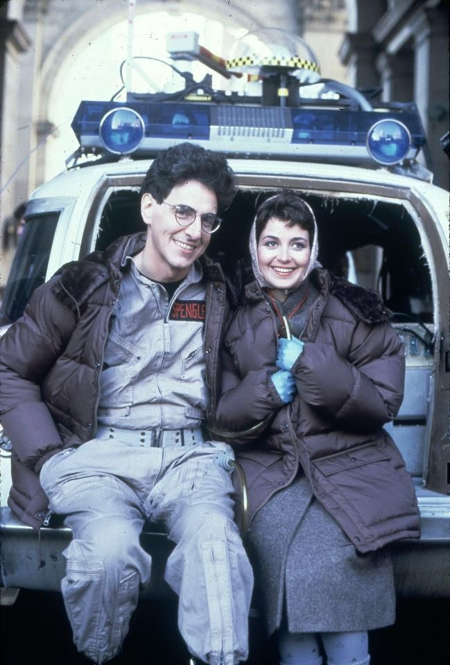 """Words cannot express how much I LOVE this picture of Harold Ramis and Annie Potts on the set of """"Ghostbusters""""!! <3 <3"""