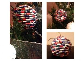 Recycled Paper Ball Christmas Ornaments