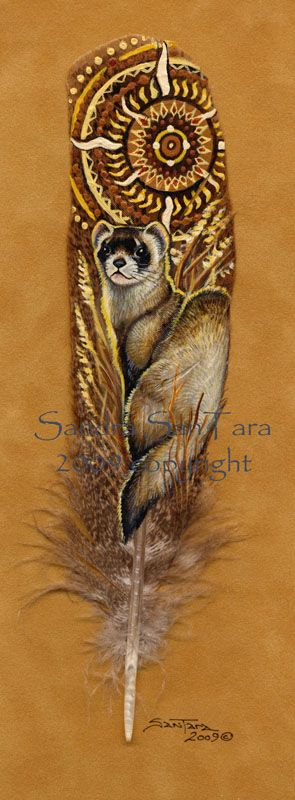 'In Dawn's Light' - Hand Painted Turkey Feather by Sandra SanTara (Black-footed Ferret)