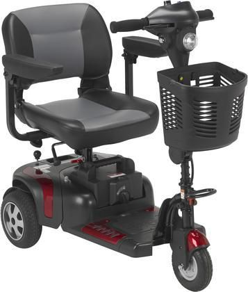 Phoenix Collection PHOENIXHD3-20 Heavy Duty Power Scooter with 3 Anti-Tip Wheels Ergonomic Throttle Control Adjustable Armrests Adjustable Swivel Seat Fold Down Backrest and Steel Construction in Red and Blue Color
