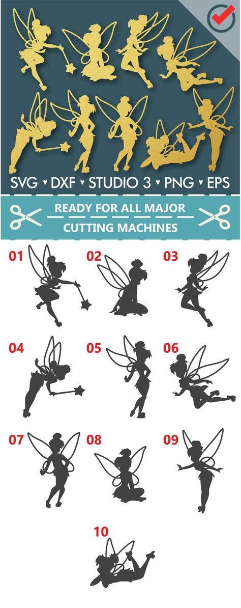 Tinkerbell, Tinkerbell Svg, Tinkerbell Cut Files, Princess, Princess Svg, Cutting Files for Silhouette Cameo, ScanNCut and Cricut