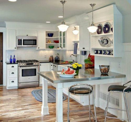 U shaped kitchen design ideas with white lightning