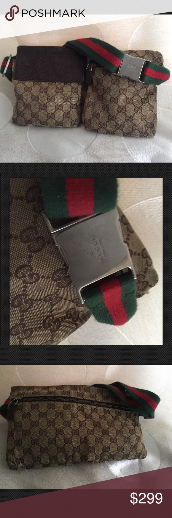 GUCCI Waist Bag Kim Kardashian Kendall Jenner Super cute gucci waist bag with iconic red green waist strap. As seen on Kim and Kendall. Get this hot accessory perfect for summer. Rare and vintage own this gucci bag today! Gucci Bags