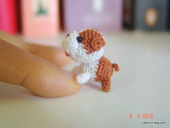 Dollhouse mini crochet puppy - Crochet stuffed animal