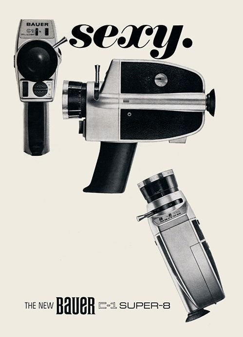 This design looks distinctly from it's era but also very contemporary. You could easily preserve the character of the camera's shape and update it's features and function to be a modern device.: Graphic Design, Sexy, Bauer Super, Modern Photography, Poster, Camera Porn, Cameras