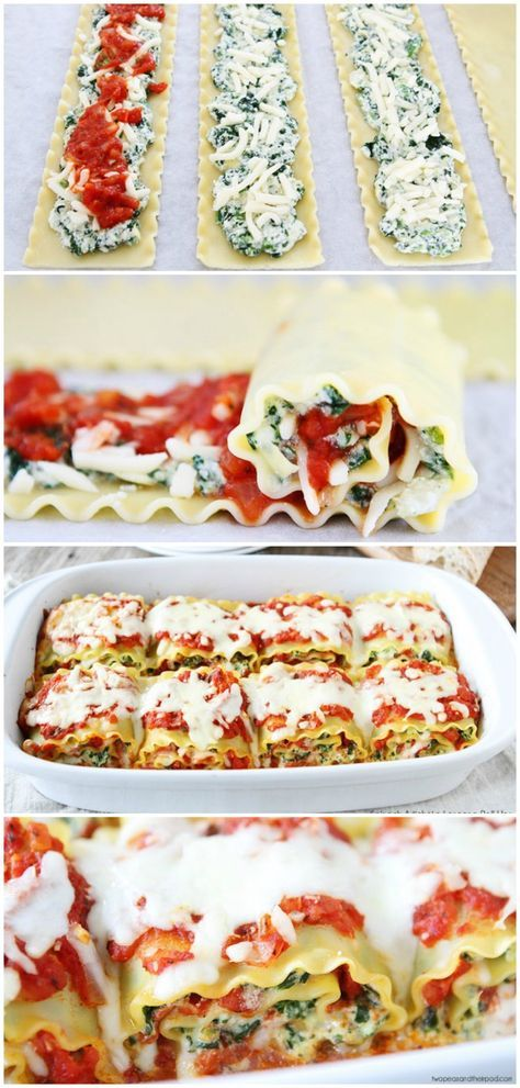 Spinach Artichoke Lasagna Roll Ups Recipe on twopeasandtheirpod.com Fun to make and they freeze well too!