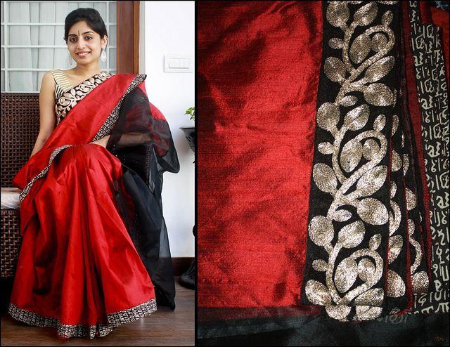 Red saree(Art silk)