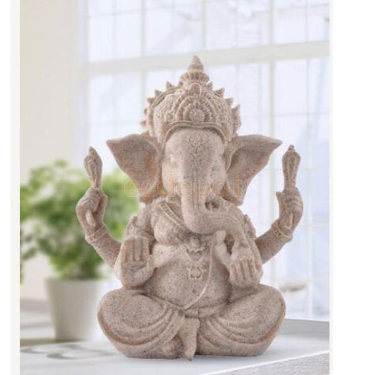 Hand Carved Sandstone Seated Ganesh Statue
