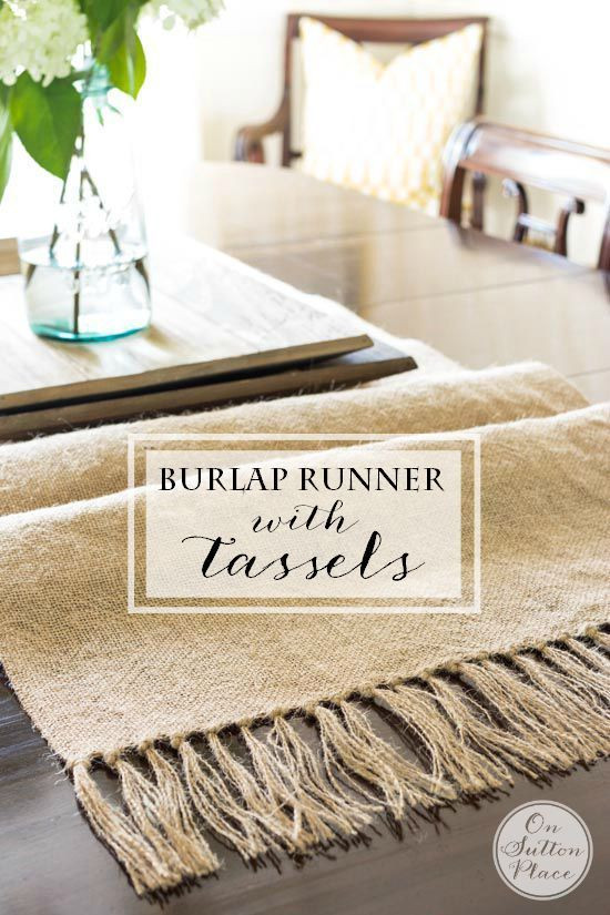 DIY Burlap Table Runner with Tassels   Easy, no sew step-by-step tutorial with pictures. Great for cottage, farmhouse or vintage style decor.