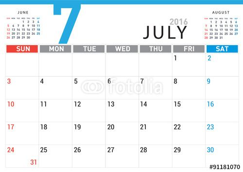 July 2016 Calendar With Notes