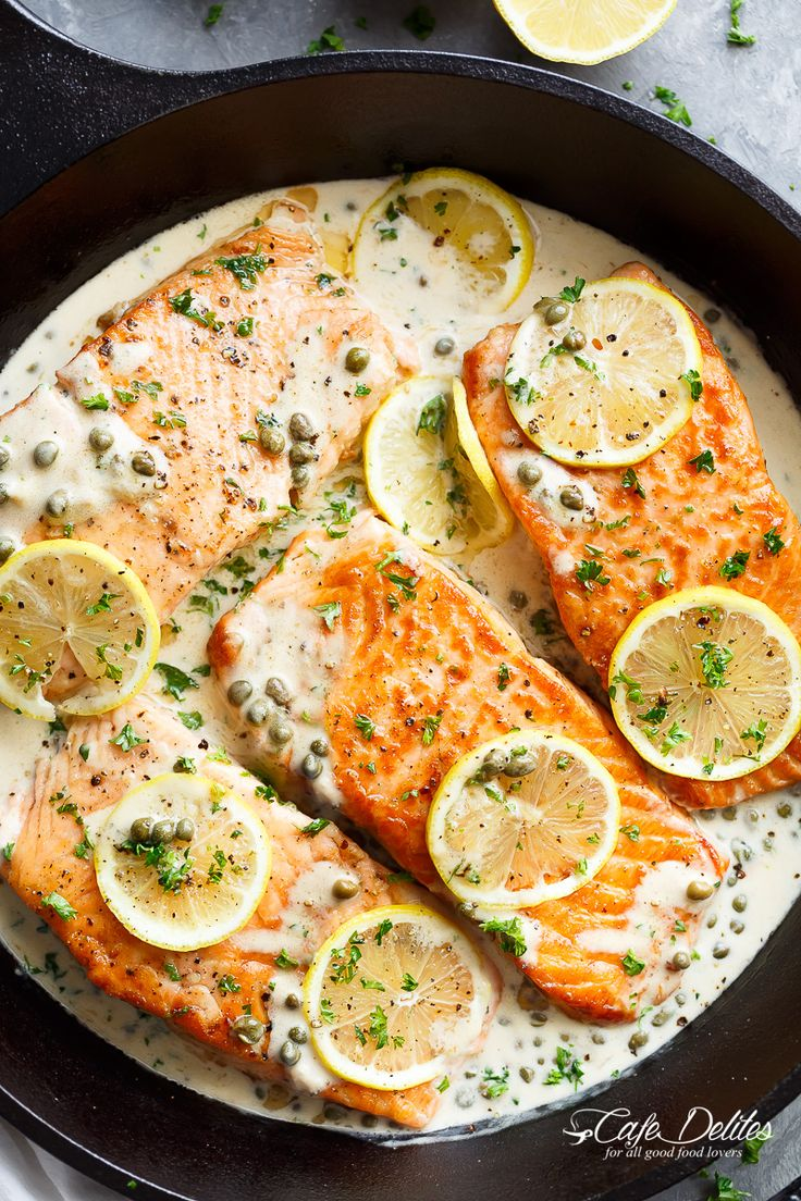 Creamy Lemon Garlic Salmon Piccata is a classy yet easy salmon recipe you've been waiting for, with a delicious creamy lemon caper sauce!