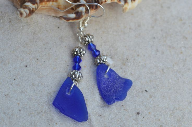 Cobalt Blue SeaGlass Dangle Earrings, Womens Beachy Jewelry, Present idea for Mom, Birthday gift for Girlfriend, Boss, Beach Lover