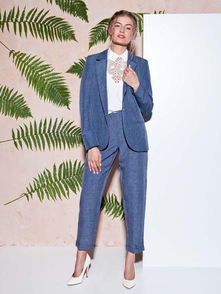 Брюки Пекин, блуза Шарлиз и жакет Брисид  #GrandUa #пиджак #брюки #блуза #образ #look #мода #синий #серый #fashion #madeinukraine #style #streetstyle #streetwear #office #work #casual