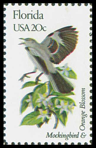 1982 20c Florida State Bird & Flower - Catalog # 1961 For Sale at Mystic Stamp Company