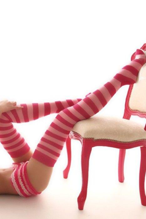 pink striped stockings