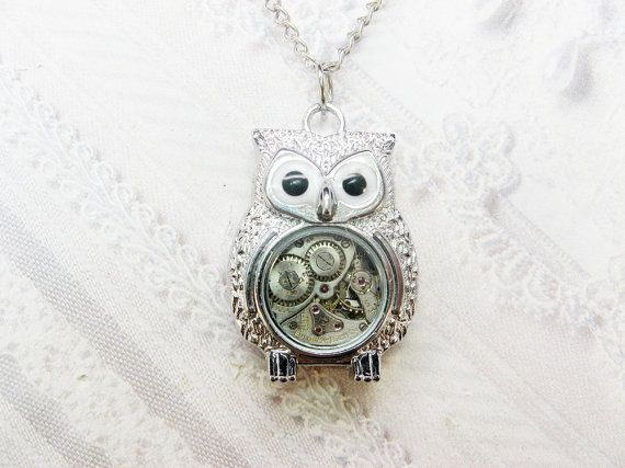 Silver Owl Steampunk Necklace by birdzNbeezSteampunk Necklace